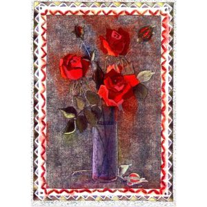 0348 Red Roses in Vase – Heron – Dufex