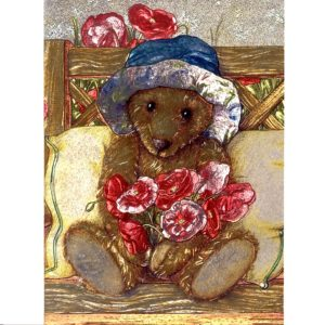 3668 Mrs Huxtable – Teddy with Poppies – by Debbie Cook