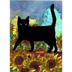 3678 Black Cat & Sunflowers – by Jacqueline Reeves