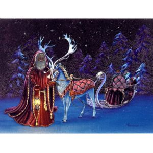 3731 Reindeer with Sledge Carriage in the Night – by Bridget Tavener