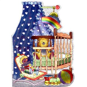 6562 Blue Cot with Toys – birth – by Hereon Cards