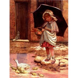 6637 April Showers – Girl with Umbrella – by George Hillyard Swinstead