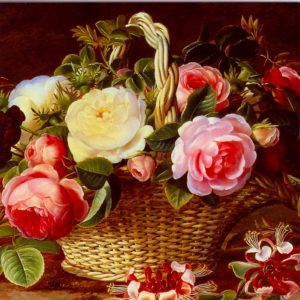 ESL02 A Still Life of Roses in a Basket – by Johan Laurentz Jensen 1800-1856