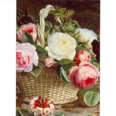 FA08 Still Life of Roses in a Basket – by Johan Laurentz Jensen