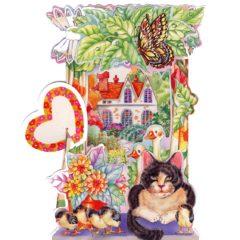 C-3D701 Cat & Geese Garden House