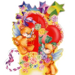 C-3D712 Teddies Heart Presents