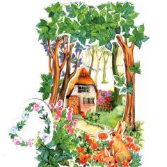 C-3D714 Rabbit at Flower Garden/house