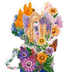 3D756 Garden Flowers Butterfly