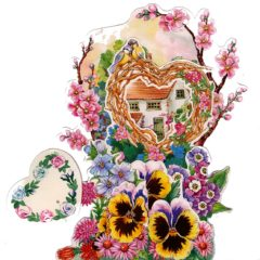 3D755 Heart, House, Pansies