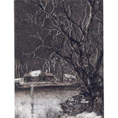 0711 Silver Village Scene – Heron – Dufex