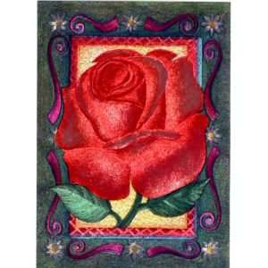 3599 Red Rose with Green Border