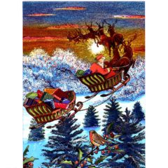 3659 Deer & Sleigh – Up and Away