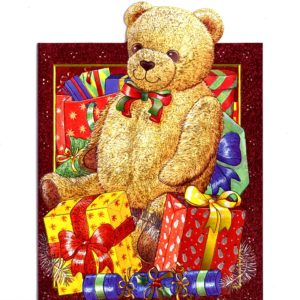 4153 Teddy Bear and Presents – by Julia Pewsey