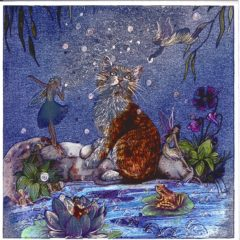 7052 Cat & Fairies on Flowery Waters edge – by Jean & Ron Henry