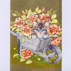 P1350 Kitten in Wheelbarrow & Flowers