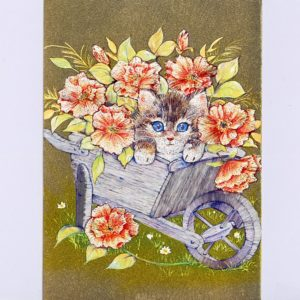 P1350 Kitten in Wheelbarrow & Flowers – Courtesy of Art Creations