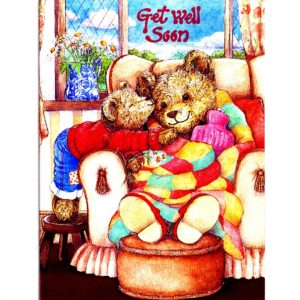 3703 Get Well Teddy – with Hot Water Bottle – by Debbie Cook