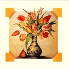 OCG3018 Blue China Vase of Tulips
