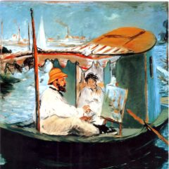 OCG3028 Monet in his Floating Studio – by Edouard Manet